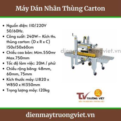 Thông số kĩ thuật máy dán thùng carton