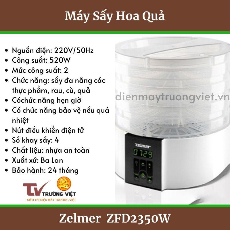 Thông số kĩ thuật máy sấy hoa quả Zelmer