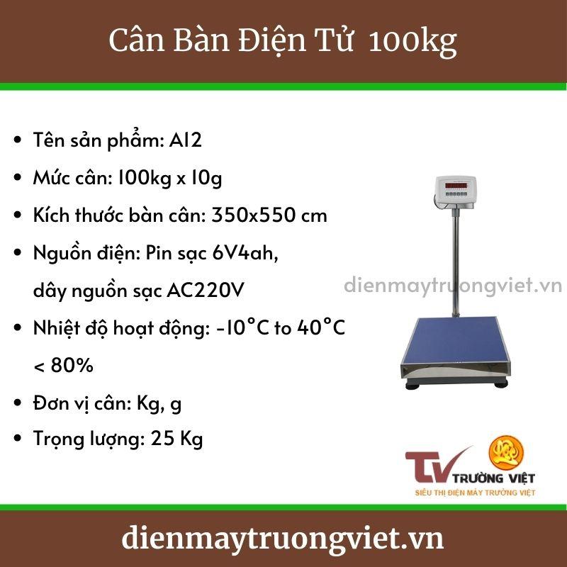 Thông số kỹ thuật cân bàn điện tử 100kg