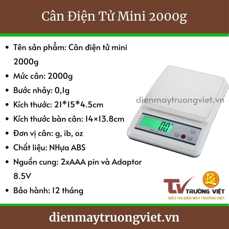Thông số kỹ thuật cân điện tử mini 2000g