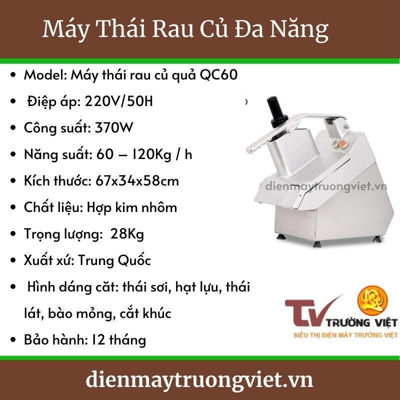 Thông số kỹ thuật máy Thái Rau Củ Đa Năng