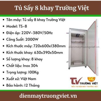 Thông số kỹ thuật tủ sấy 12 khay Trường Việt