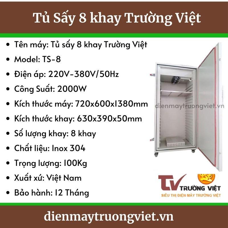 Thông số kỹ thuật tủ sấy 8 khay Trường Việt